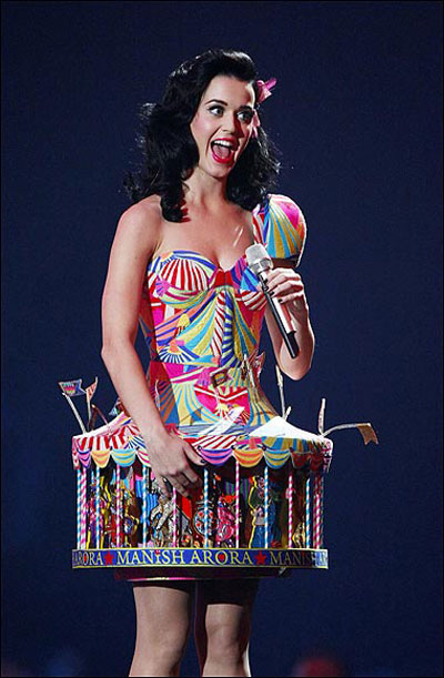 Katy Perry's outfit stands out from the rest.