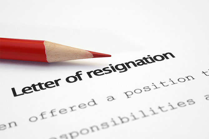 picture of letter of resignation